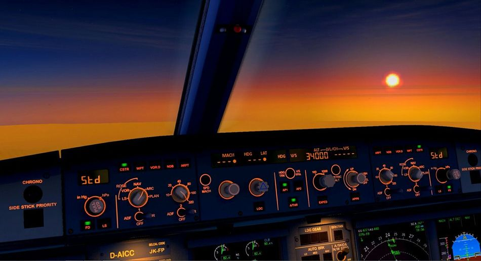 A slightly different hobby🙈 Flight Simulator Cruise Airbus A320 Simulation Airplane Cockpit Flying Sun Set