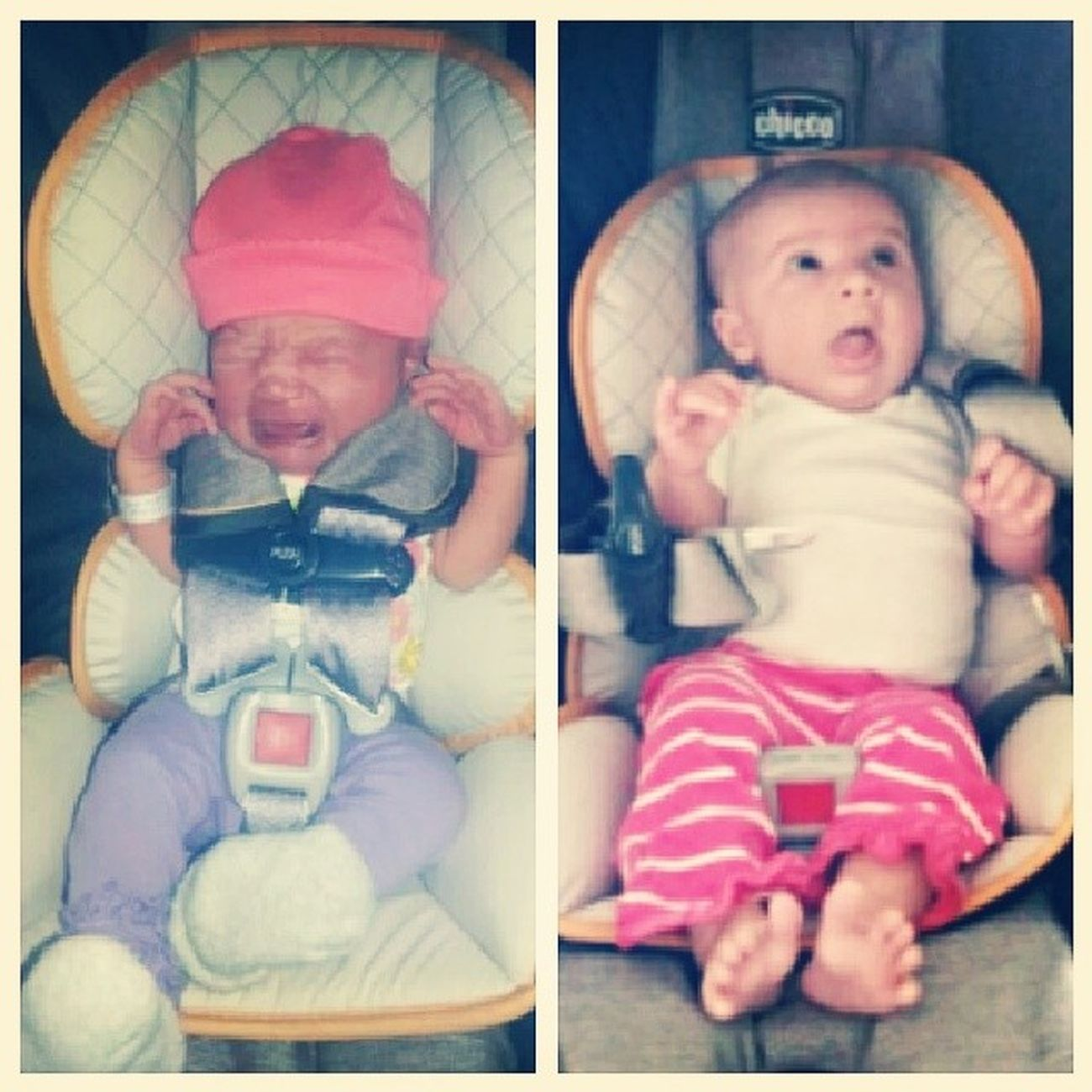 Shes getting so big. From 3 days to 6 weeks! Babygirl 6weeksold Elizamae GettingSoBig carseat
