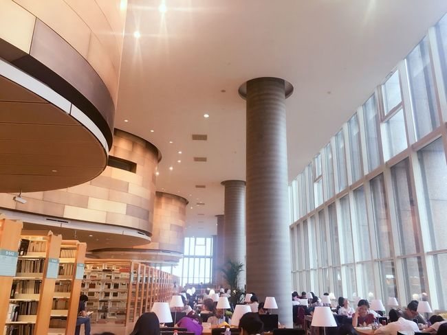 Architecture Large Group Of People Indoors  Library People Bookshelf a little peace