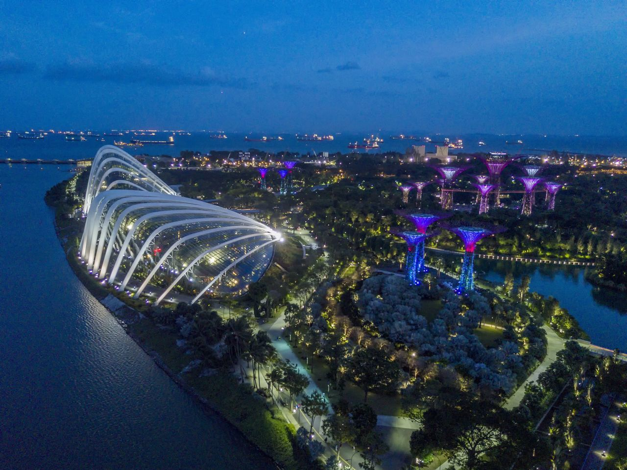 City Sky Architecture Sea Illuminated Building Exterior Cityscape Water Built Structure Outdoors No People Nature Night Skyscraper Gardensbythebaysingapore Dronephotography Droneshot Skyline Flying High