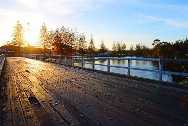 Brunswick Sunset Brunswick Heads Australia Bridge Outdoors River