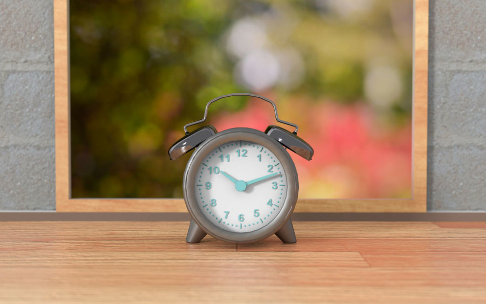 Clock on table with frame background 3d Rendering Alarm Clock Clock Clock Face Close-up Day Focus On Foreground Hour Hand Indoors  Minute Hand No People Table Time