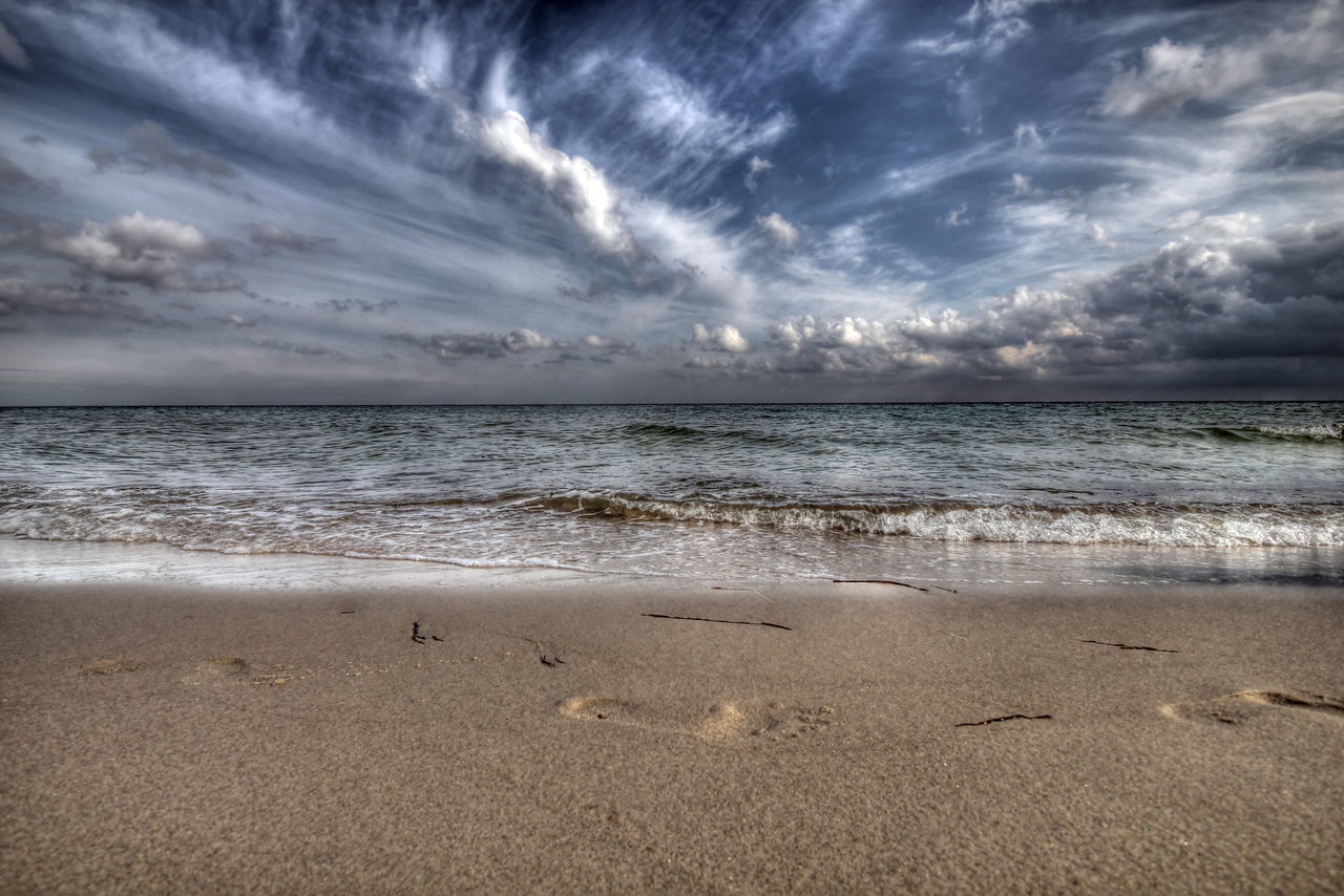 Baltic Sea Beach Beauty In Nature Clouds Clouds And Sky Footsteps In The Sand HDR High Dynamic Range Horizon Over Water Nature No People Relax Sand Scenics Sea Sky Sky And Clouds Water Wave EyeEmNewHere at Kærneland Danmark