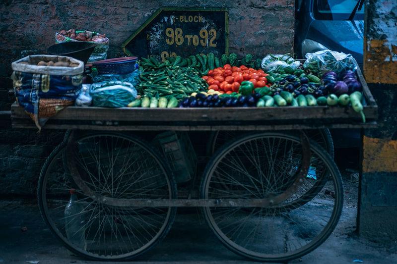 Block 98 to 92 92 98 Sign Wheel Block Board Buy Buying Cart Different Food Fruits Items Park Parked Sell Selling Shop Signboard Street Vegetable Vegie Vending Vending Machine Vendor
