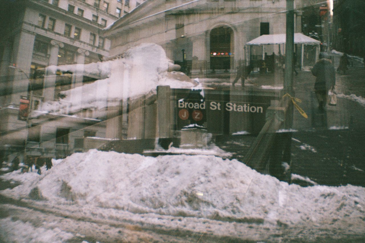 Unedited Multiple Exposures Film Photography Imperfectly Perfect Building Exterior Wall Street  Broad Street Financial District  Snow Pile Federal Building Historical Place Winter_collection Tourist Attraction  Analogue Photography Embrace Urban Life Adapted To The City Collage ミーノー!! Cut And Paste