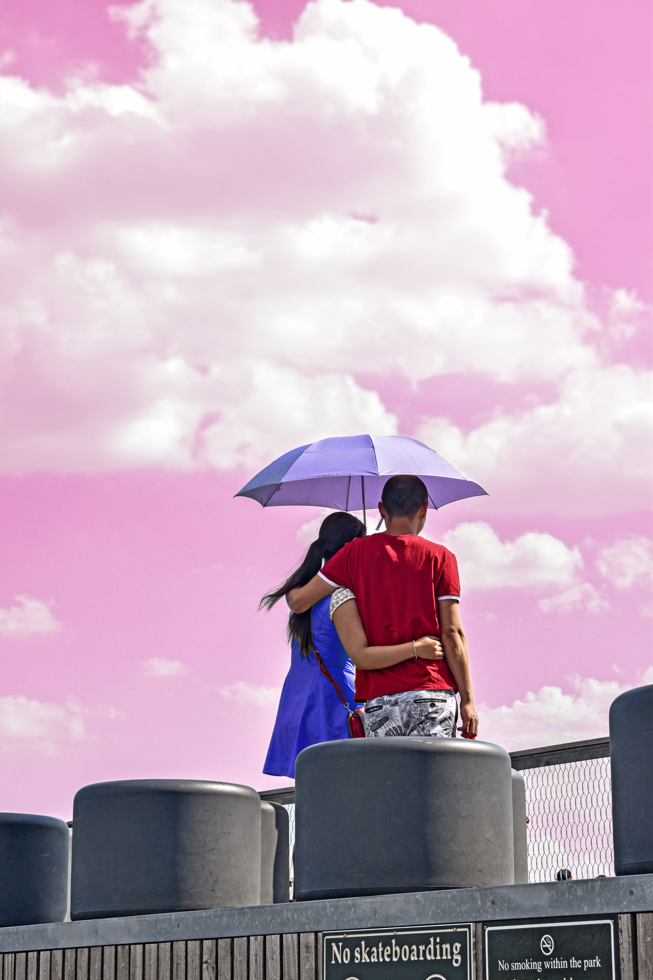 Couple Couples❤❤❤ Love Pink Sky And Clouds Built Structure Cloud - Sky Color Colorful Sky Couple - Relationship Day Lifestyles Low Angle View Men One Person Outdoor Outdoor Photography Outdoors People Pink Color Protection Real People Sky Umbrella Young Adult