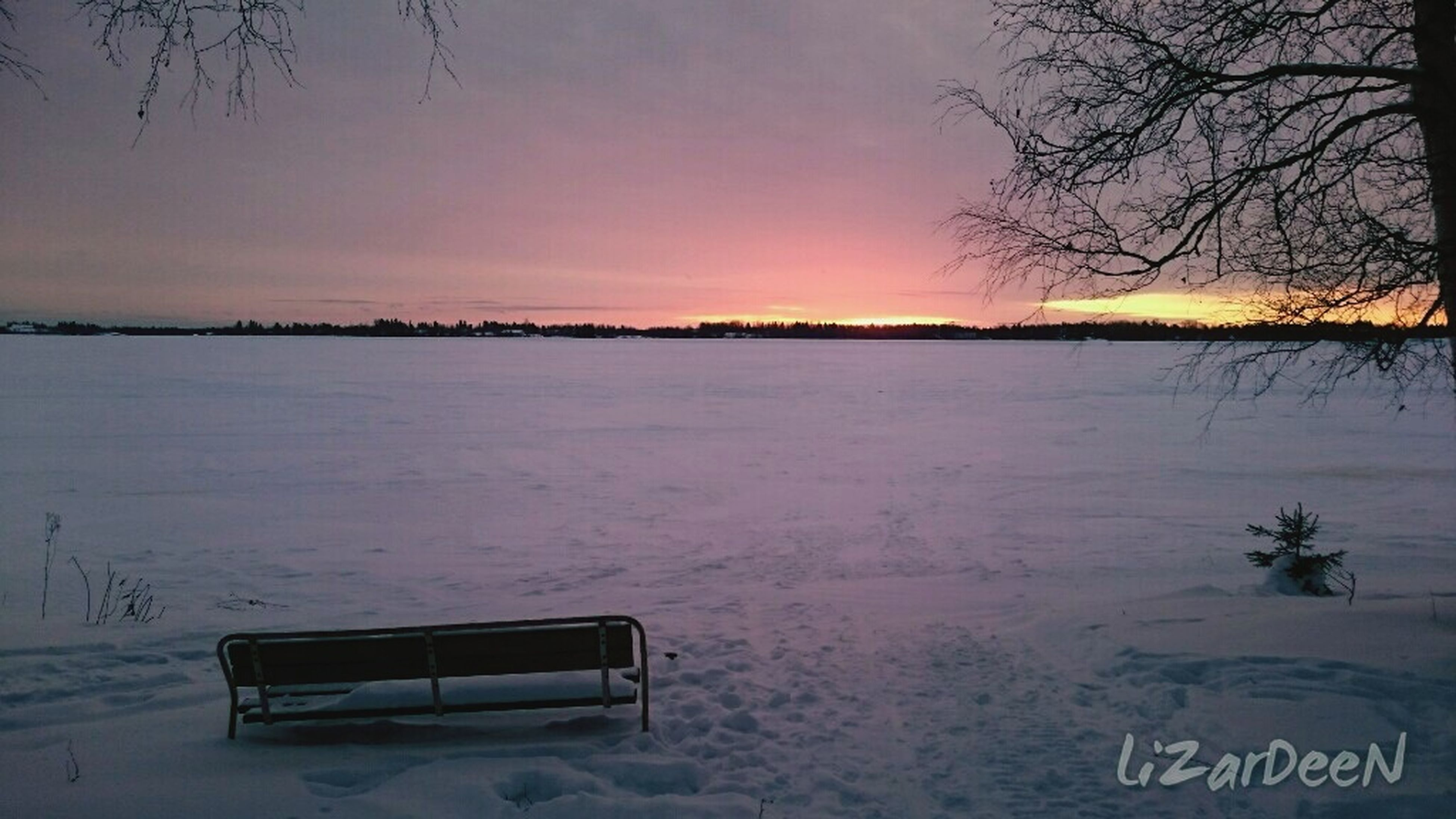 winter, snow, cold temperature, tranquility, tranquil scene, sunset, weather, tree, scenics, sky, season, beauty in nature, nature, bare tree, covering, dusk, landscape, water, frozen, lake