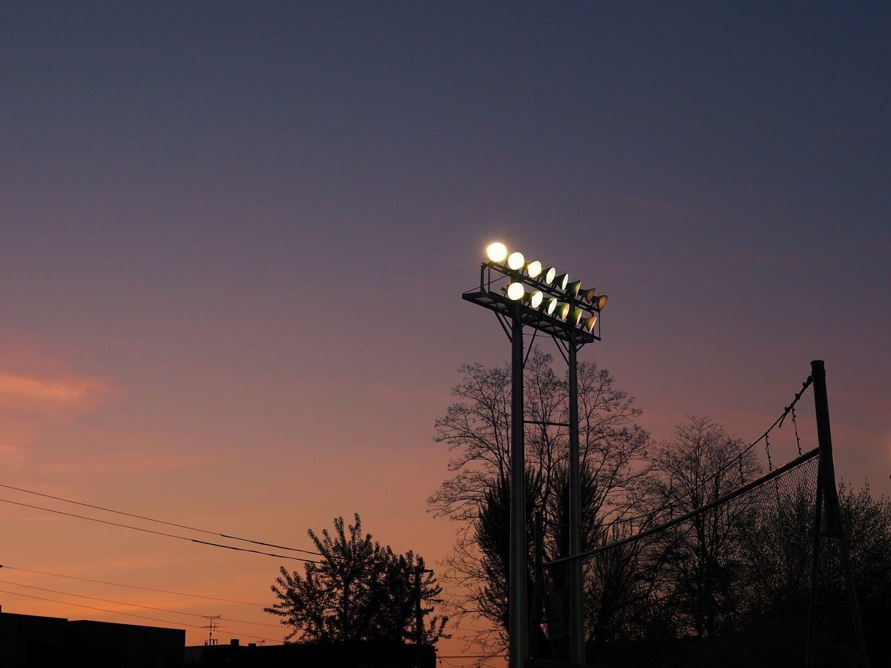 Sunset Sky Outdoors Silhouette Floodlight 空 野球場