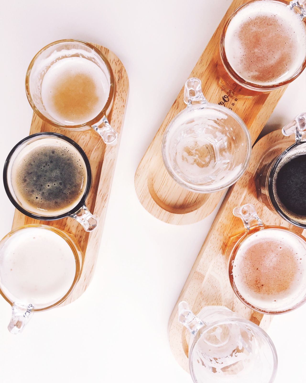 Beer Table Drink Refreshment Food And Drink Frothy Drink High Angle View Drinking Glass Table Directly Above Cappuccino No People Freshness Indoors  Beer Beer Time Beer Sampler Beer Sampling Froth Art Food Close-up Day