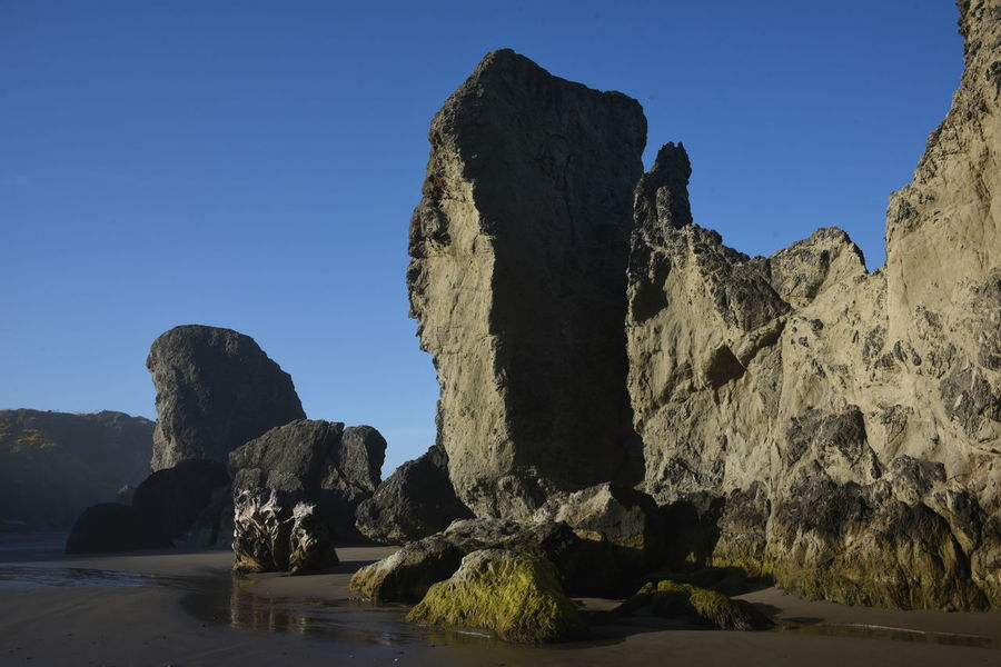 Bandon Beach at Low Tide Scenic Large Rock Low Angle View Nature No People Outdoors Reflection Rocky Beach With Sand Scenic Landscapes Sky Tidepool Bandon, Oregon Rock Formation Extreme Terrain Wet Sand Reflections Beach View Miles Away