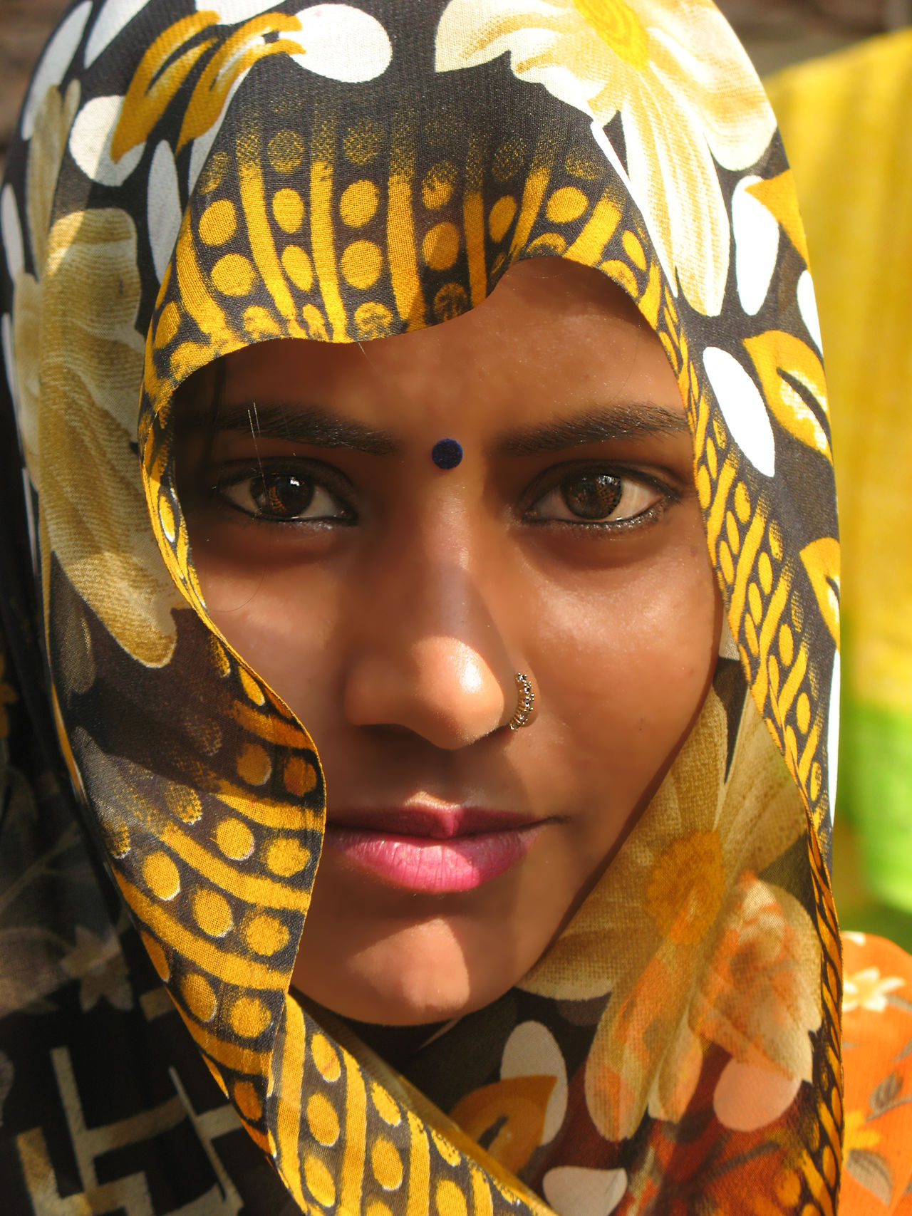 Rajastan village woman Bindi Close-up Headshot India Indian Indian Woman Nose Piercing One Person Outdoors People Portrait Sari Traditional Clothing Yellow