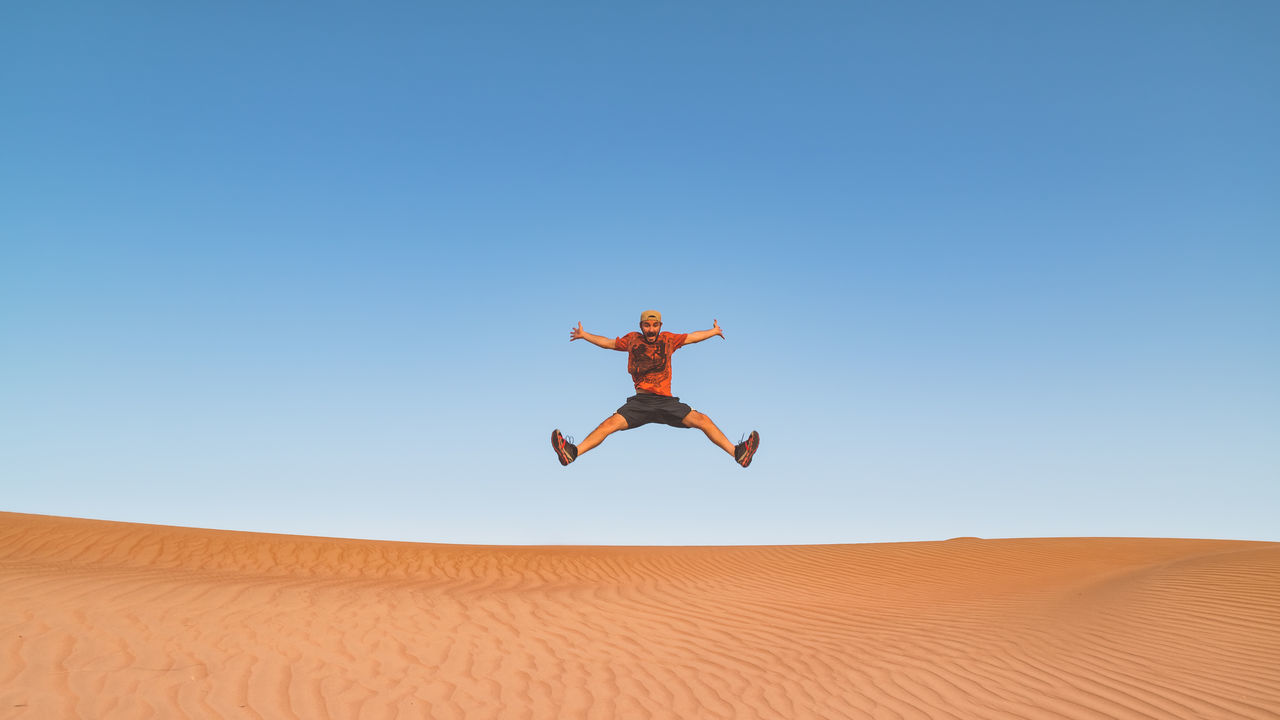 Arid Climate Clear Sky Desert Desert Fun Jumping Nature Oman Outdoors Sand Sand Dune Wahiba Sands Live For The Story