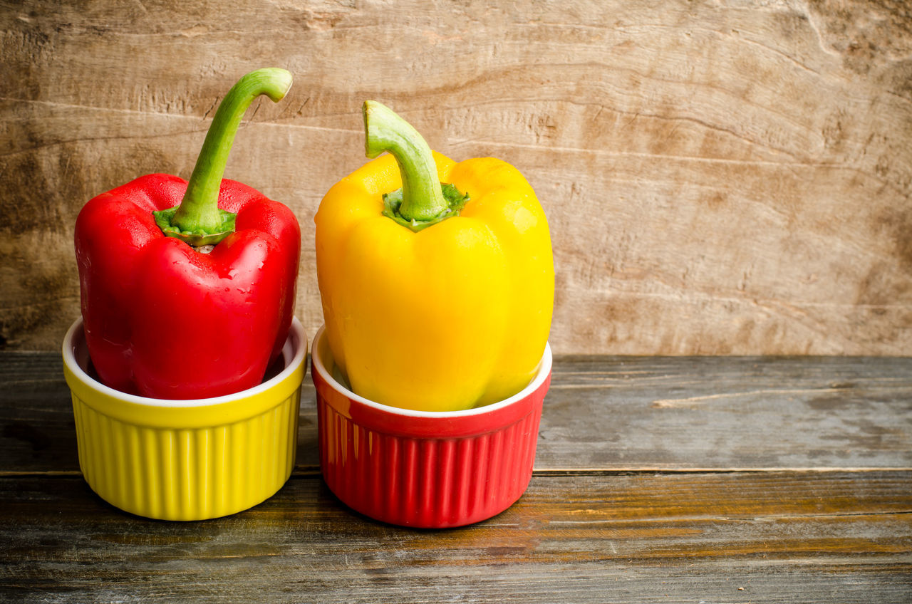 Bell Pepper Bright Close-up Color Day Diet Food Food And Drink Freshness Healthy Eating Indoors  No People Organic Red Red Bell Pepper Sweet Pepper Table Vegetable Vegetarian Food Vibrant Color Yellow