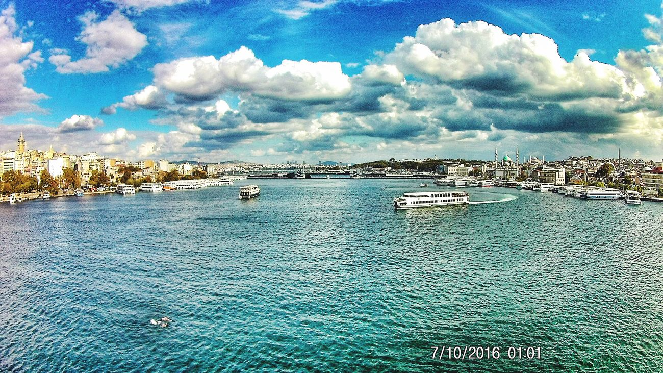Eminönü/ İstanbul Haliçmetrogeçişköprüsü Galata Tower Istanbul Turkey Taksim Sky Cloud Water Day Blue Nature huzuru bulduğum İSTANBUL First Eyeem Photo