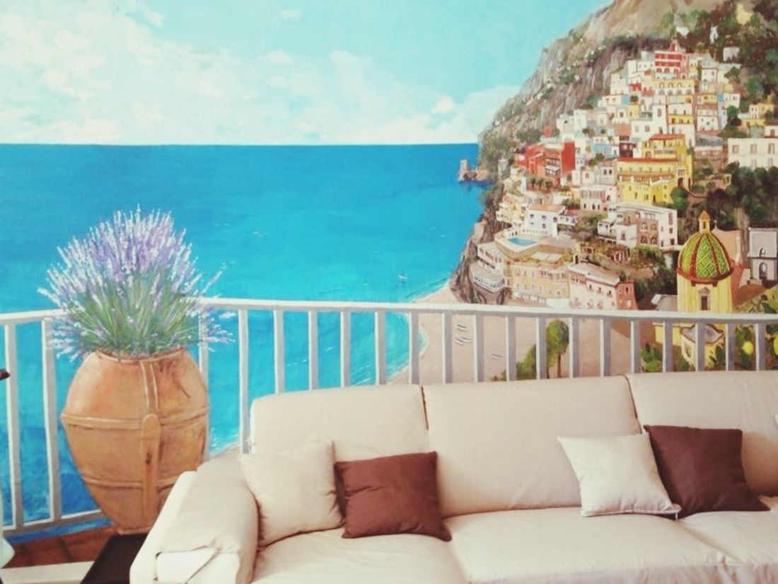 Trompe l'oeil Positano Sea No People Day Nature Water Sky Horizon Over Water Trompe L'oeil positano murales Built Structureture] pasquale scognamiglio built structure Outdoors Tranquility Architecture Luxury Plant Scenics Building Exterior Mix Yourself A Good Time