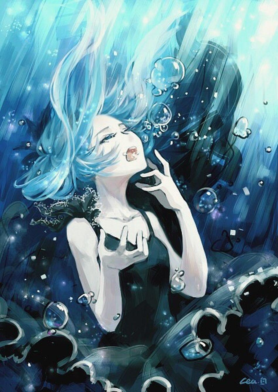 Vocaloid Mikuhatsune Art Anime Sea Deep Sea Girl Meer аниме Море море👻🌊