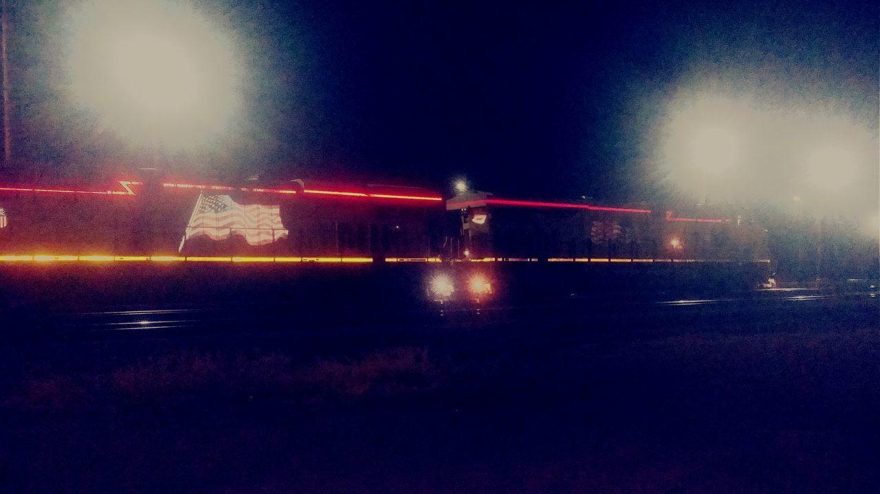 Night Photography Union Pacific Railroad Trains Classic America The American Flag American Heritage Nostalgia