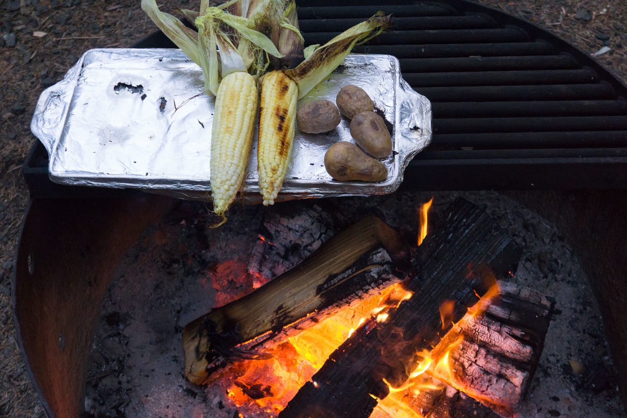 Camping and campfire cooking on the Oregon coast vegan style Burning Camp Fire Camping Close-up Cooking Corn Day Deterioration Firewood Flame Freshness Heat Heat - Temperature No People Oregon Potato Preparation  Roasted Corn Still Life Travel Vegan Wood - Material