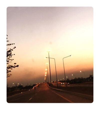 Smoggy Sky Smog In The Sky Sunset Road Car Street Light No People Sun Nature Sky Outdoors City Day