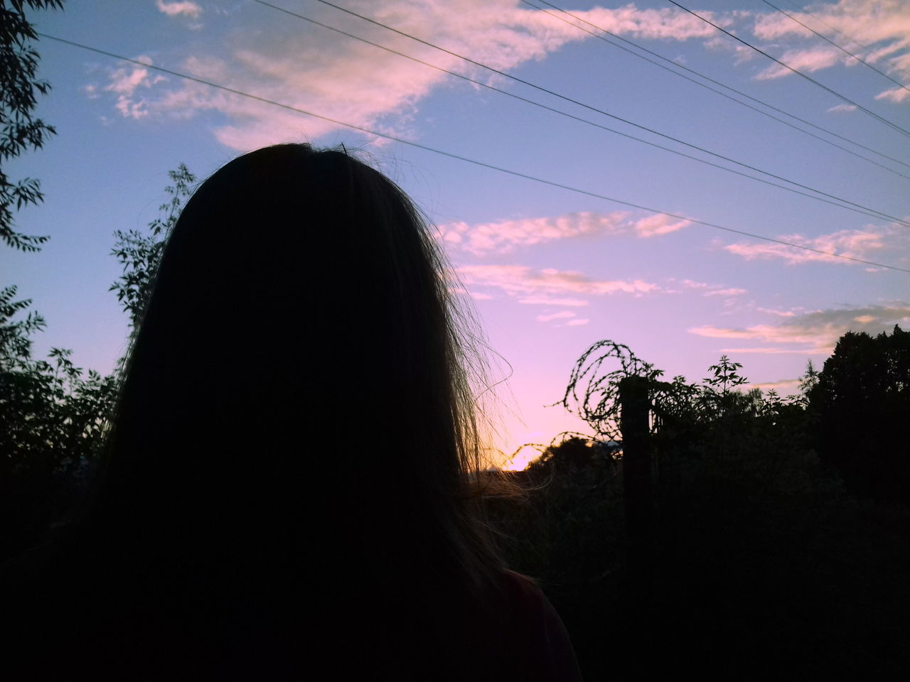 sky, silhouette, nature, tree, outdoors, one person, headshot, sunset, real people, day, people