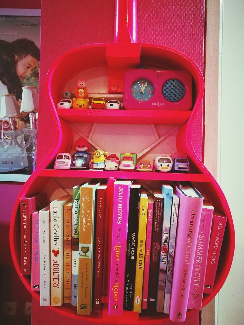 Red No People Indoors  Day Pink Bookshelf Collections Cute