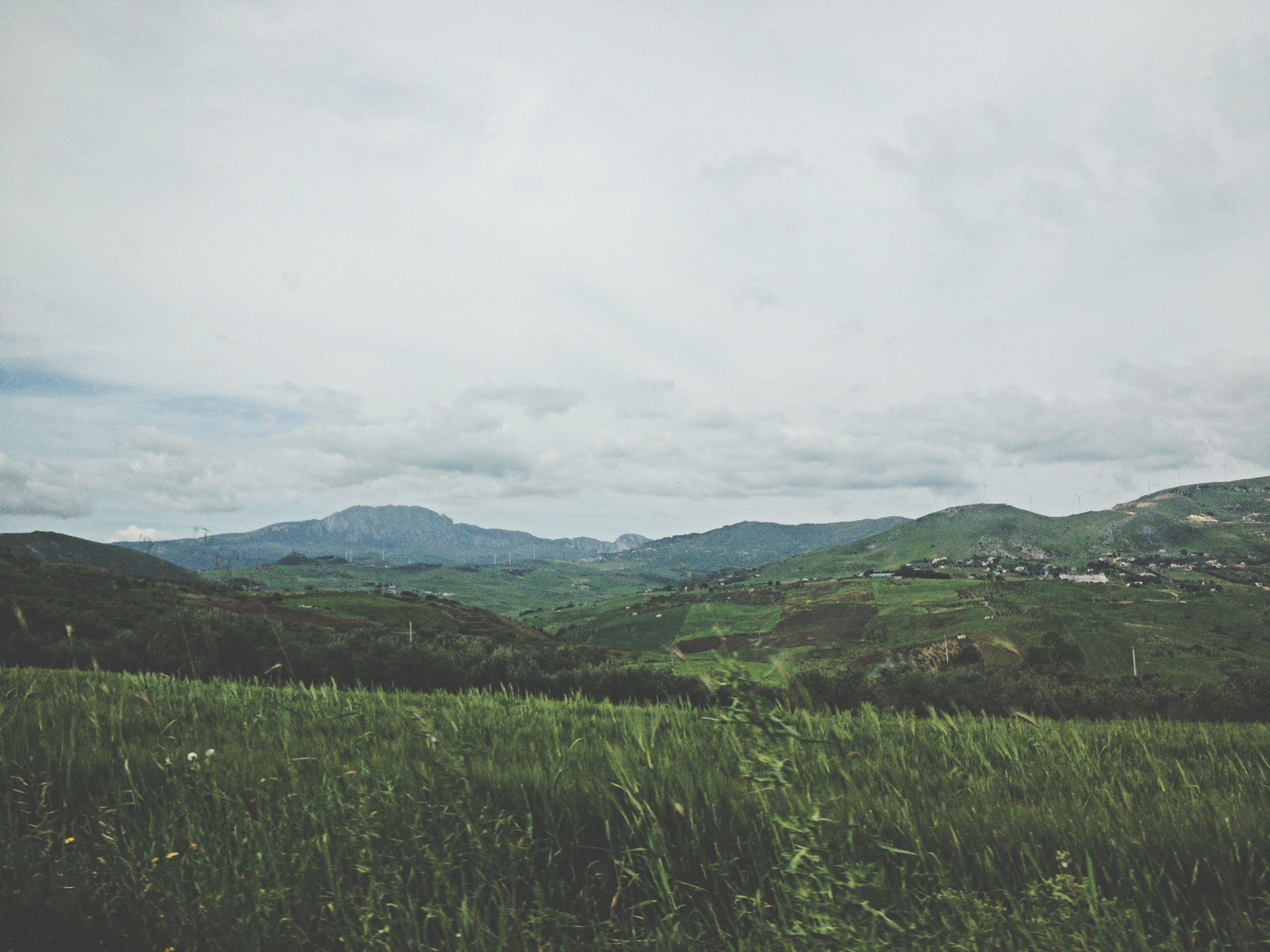 mountain, tranquil scene, landscape, tranquility, scenics, sky, beauty in nature, mountain range, grass, nature, field, non-urban scene, growth, cloud - sky, plant, idyllic, green color, cloud, remote, day