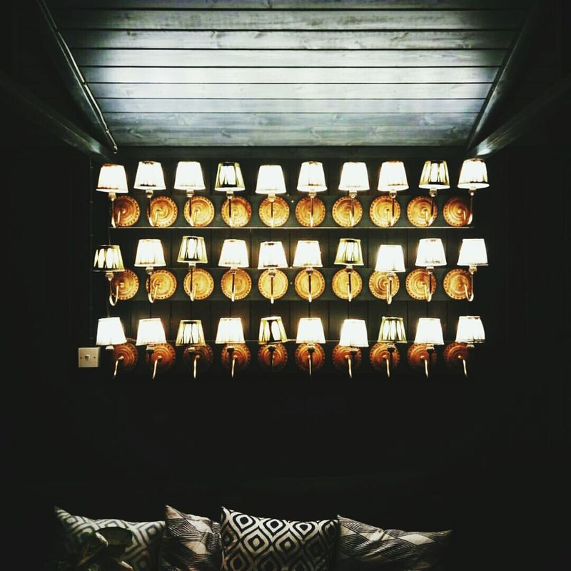 Indoors  Window In A Row Repetition Large Group Of Objects Arrangement Electric Light Order Interiors No People Lights