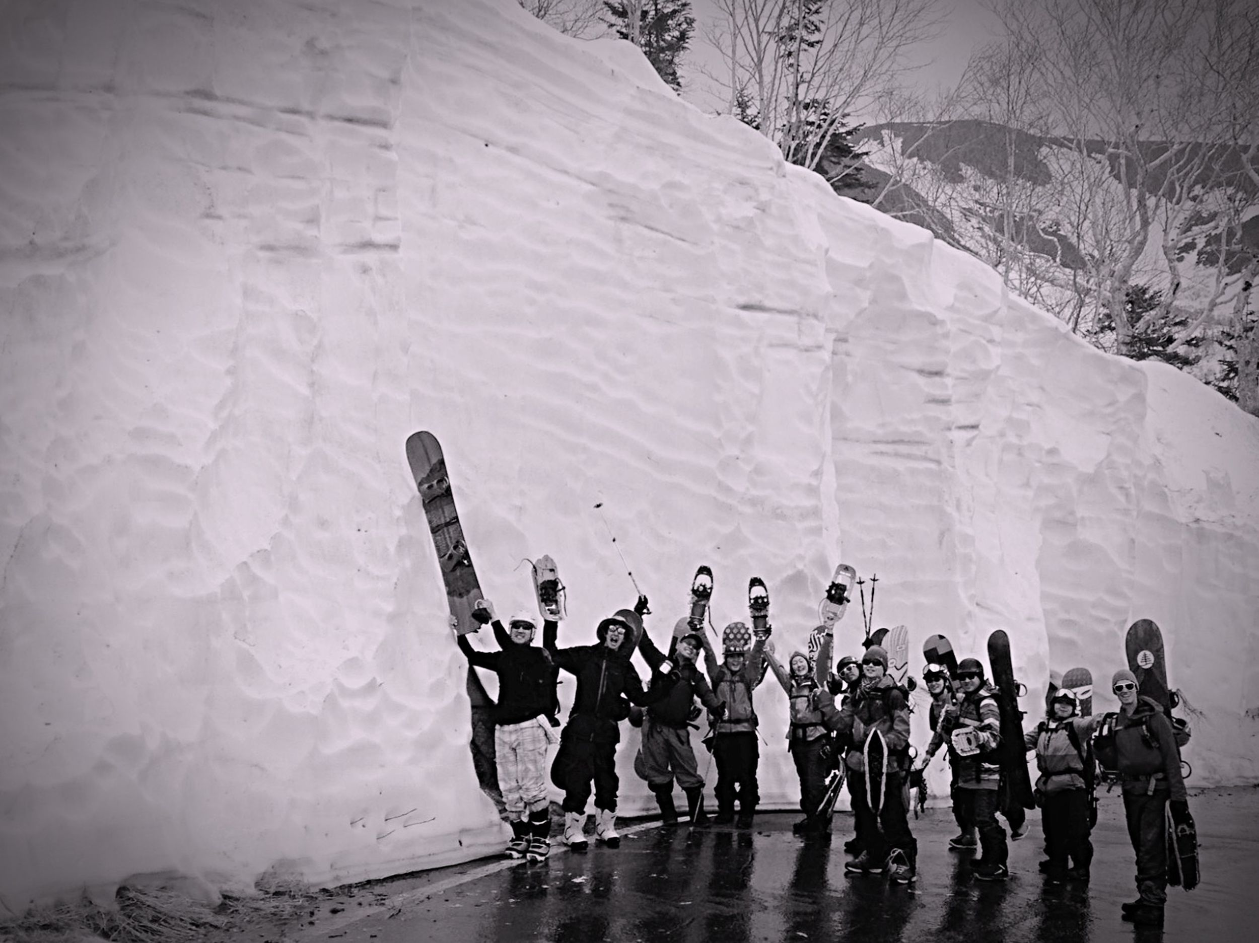 Snow Wall Backcountry Snowboarding Snow Shoe Hike Up