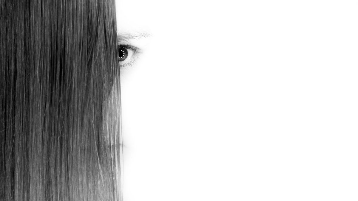 High key shot of young woman with fringe covering face revealing just one beautiful eye. Re-edited, apologies for any repetition. Close-up Copy Space Eyebrow Eyesight Fringe Human Eye Human Face Human Hair Neon One Person Real People Ringlight White Background Women Young Adult