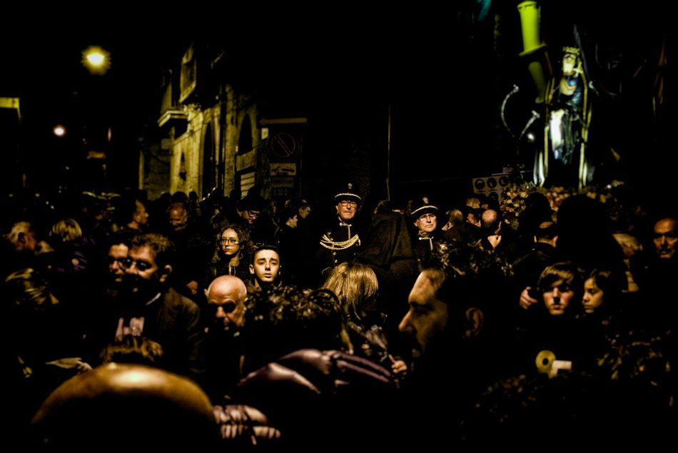 Adult Agrigento Catholic Celebration Cross Crowd EyeEm Best Shots EyeEm Gallery Italy Large Group Of People Men Night Old Outdoors People Procession Real People Religion Religious  Sicily Tradition Traditional Culture Traditional Festival Watching You Women