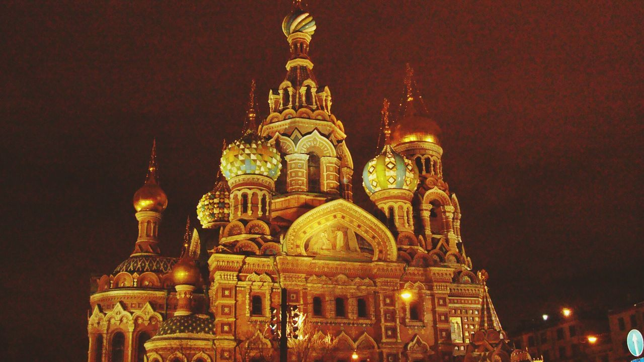 religion, place of worship, architecture, spirituality, dome, built structure, building exterior, illuminated, night, travel destinations, gold colored, history, low angle view, outdoors, sky, no people