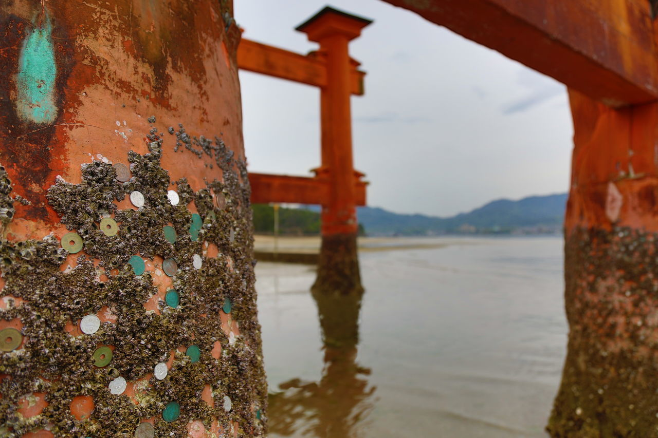 The great Torii of Miyajima during low tide Close-up Day Japan Japan Photography Japanese Culture Japanese Traditional Low Tide Miyajima Nature No People Outdoors Sky TORII Torii Gate Water EyeEmNewHere EyeEm Best Shots EyeEmBestPics