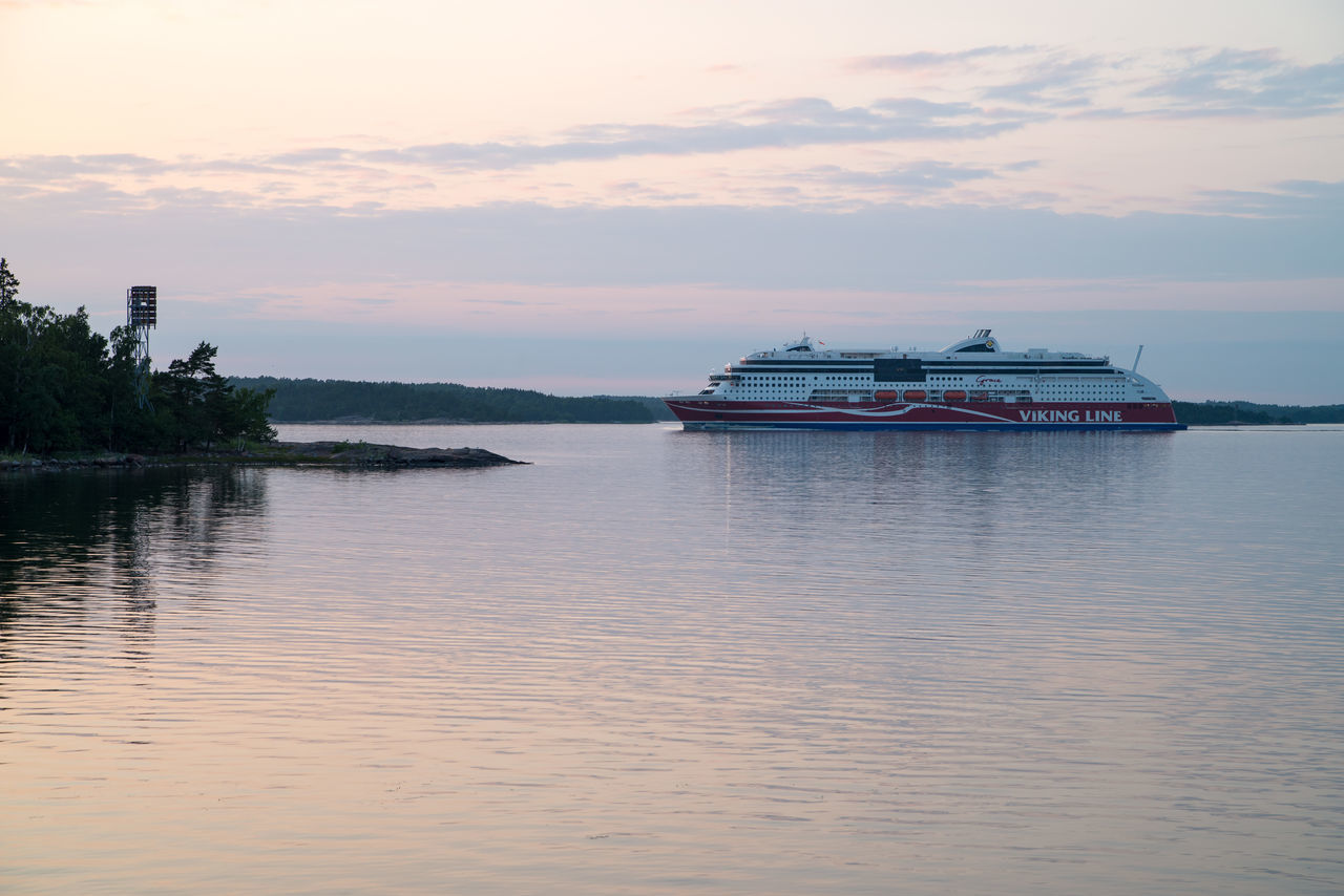 Calm Sea Car Ferry Gulf Of Finland Nature Nautical Vessel Sea Sky Sunset Tranquil Scene Viking Line Water