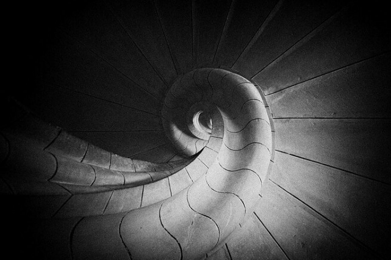 spiral, close-up, one person, day, real people, indoors, architecture, people