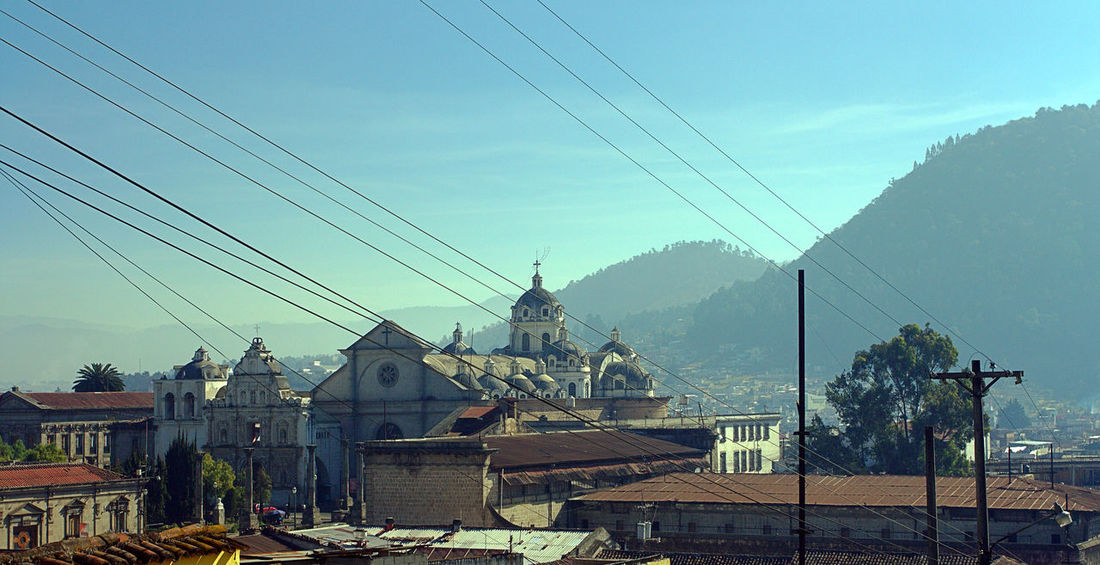 New Years trip 2017. Architecture Building Exterior Built Structure Cable Catholic Church Day Electricity  Electricity Pylon Historical Building Old Buildings Old Town Outdoors Place Of Worship Power Line  Quetzaltenango Street Photography Streets Town Centre Town Square Tree Urban Exploration Urban Landscape Urban Skyline Xelajú