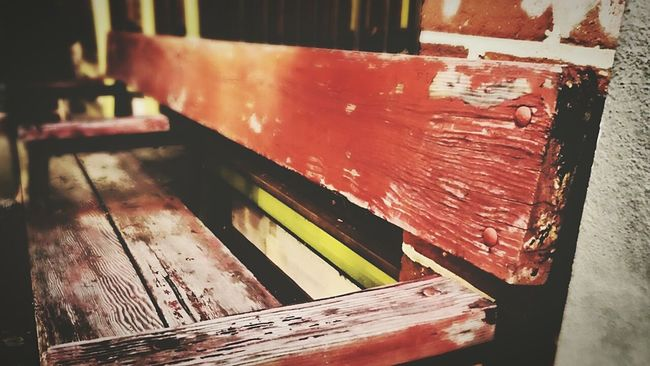 This old bench could definetly use a paint job. Bench Relaxing Vintage Fade Close Up In The City Red Gainesville Hanging Out
