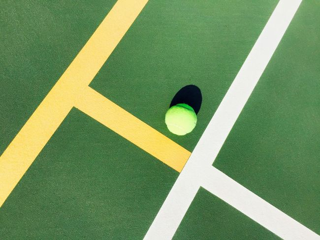 Ball Game Games Shadow Play Green Color High Angle View Leisure Activity Light And Shadow Light And Shadows No People Nobody Outdoors Sport Sports Striping Tennis Ball Tennis Court The Color Of Sport White Yellow California USA Tennis Stripes Lines