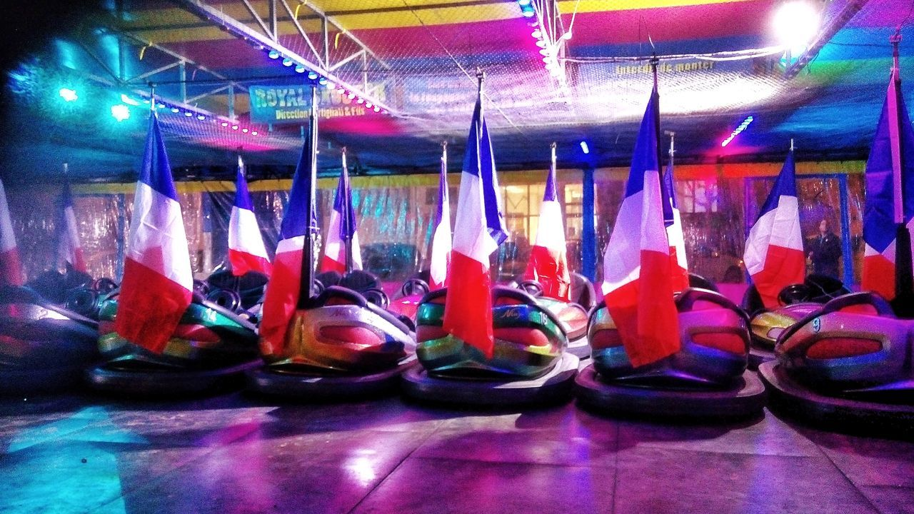 The national Bumper car challenge... Opening may 2017..!!lLolololololol Picoftheday Telling Stories Differently French Flag Vibrant Color Fairground Attraction Urban Exploration Street Photography Tadaa Community EyeEmBestPics EyeEm Best Shots Shootermag FUJIFILM X-T1 Polychromatic My Year My View Eye4photography  Colour Of Life Illuminated