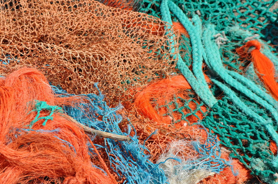 Abstract Backgrounds Colorful Design Fisher Net Full Frame Habor Habour View Multi Colored Netting Pier Rope Textile