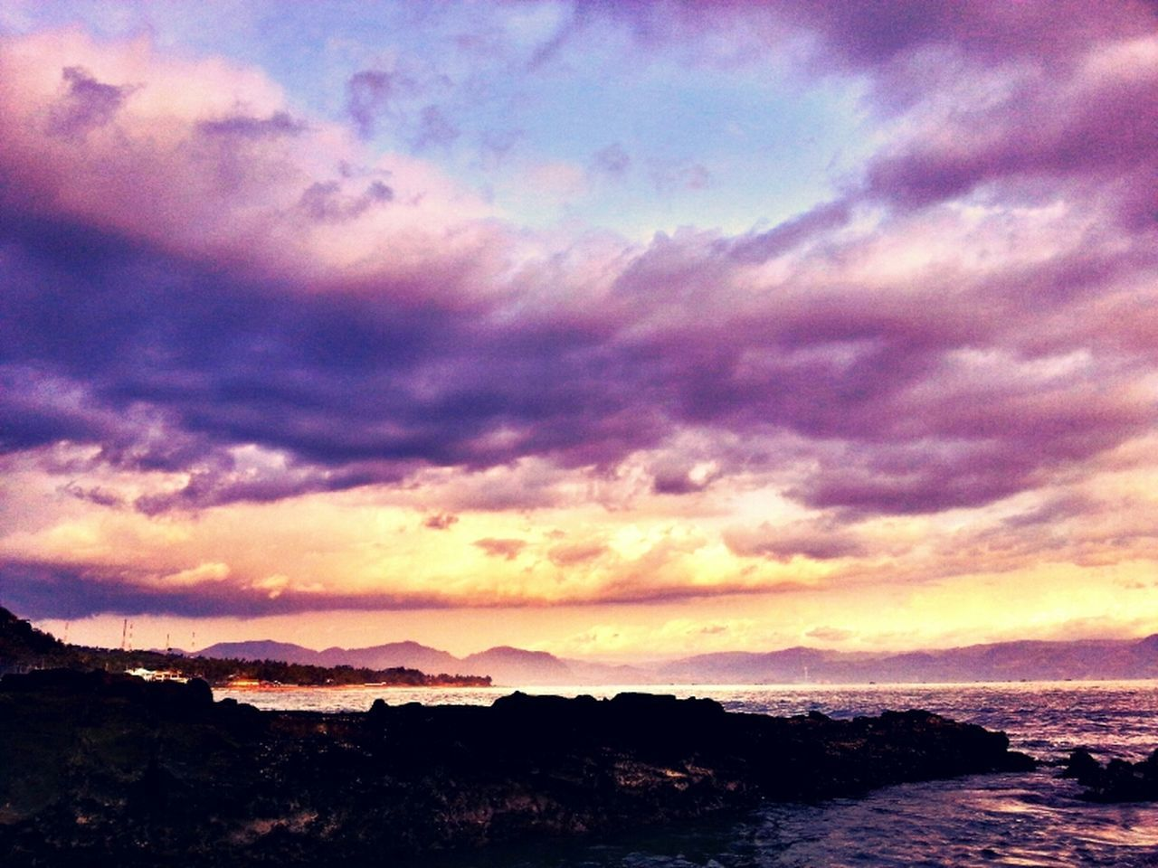 sky, sunset, beauty in nature, cloud - sky, nature, tranquil scene, scenics, tranquility, no people, outdoors, silhouette, sea, water, mountain, day
