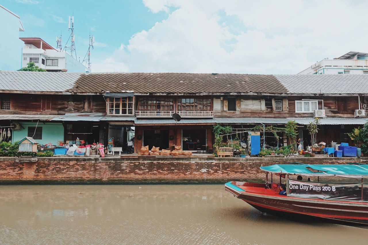 Architecture Built Structure Building Exterior Transportation Nautical Vessel Sky Day Cloud - Sky Water Mode Of Transport Outdoors Moored Nature Canal Boat Bangkok Thailand. Traditional Cultures Local House Lifestyles Local Culture Old Buildings Old Town Riverside