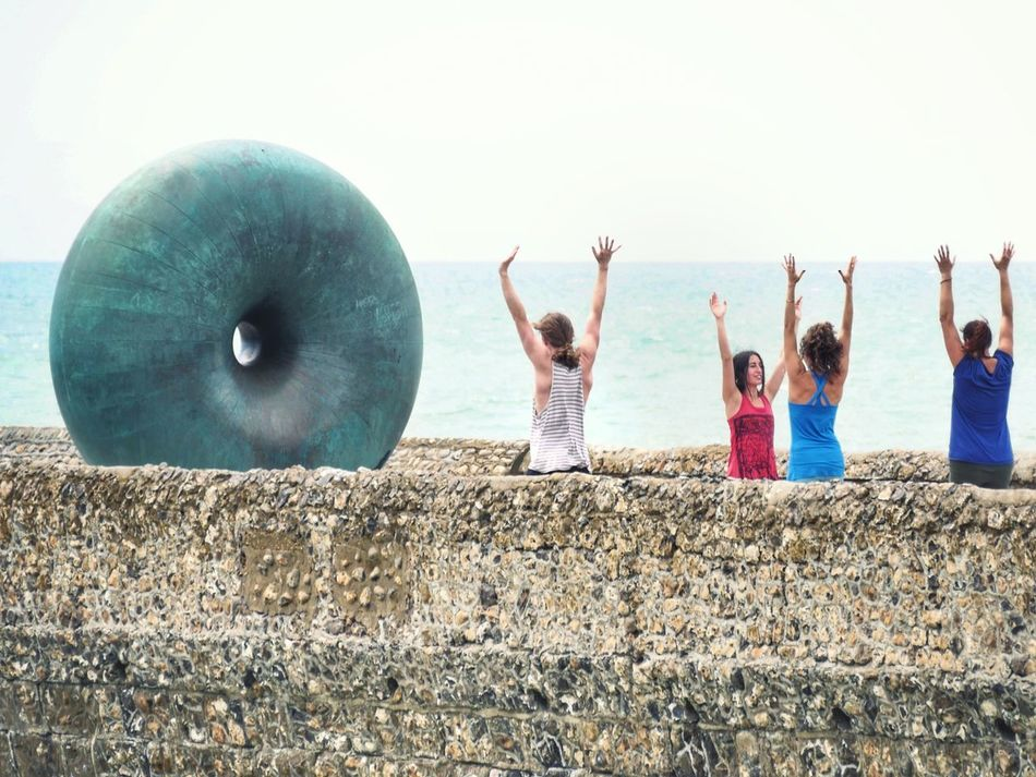 Worship of the BIG Doughnut at the Seafront in Brighton England United Kingdom Alternative Fitness Sport Open Air Training Global Photographer Works Exhibition Global Photographers Alliance Hands Up Hands Up In The Air People Of The Oceans Ocean Ocean View Adventure Club Showcase July