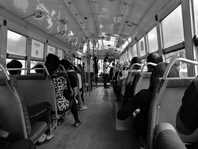 Vehicle Interior Passenger Vehicle Seat Public Transportation Transportation Old Bus Classic Car Classic Huawei P9 Leica Mono Public Transportation Bus Monochrome Thailand Huaweip9monochrome Huawei P9 Plus HuaweiP9plus Leica Lens People And Places Sitting Monochrome Photography People Standing Old Car Seat