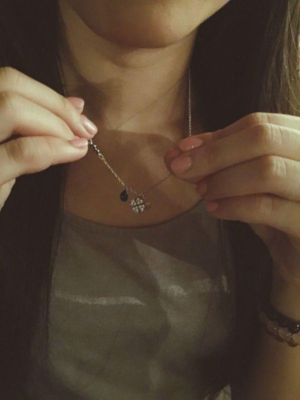 Birthday Giftgift Necklace ♥ Swarosvki Four Leaf Clover Beautiful