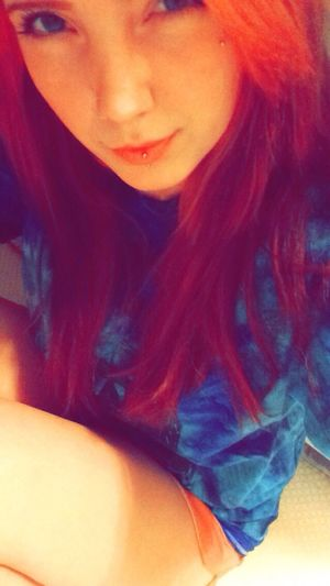 Blue Redhead Bored New contacts arrived c: