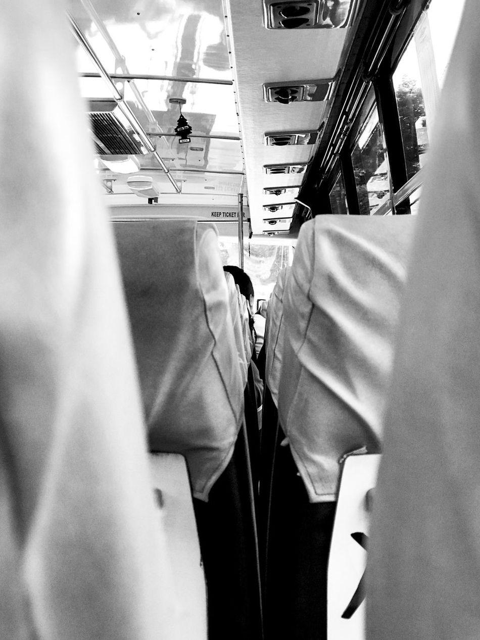 Shotoniphone7plus Transportation Vehicle Interior Indoors  Public Transportation Mobile Photography Streetphoto_bw Eyeem Philippines Blackandwhite No People Seats City Bus Bus Morning Commute After Work Urban Life Metropolis City Life