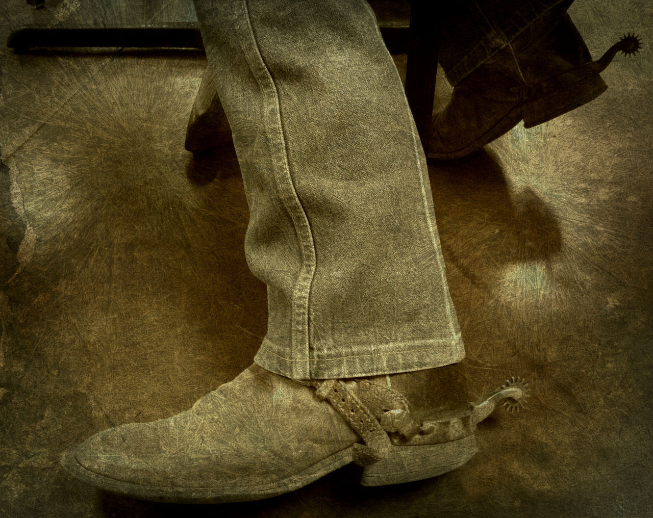Adult Adults Only Casual Clothing Close-up Cowboy Cowboy Boots Day Human Body Part Human Hand Human Leg Indoors  Jeans Low Section Men One Man Only One Person Only Men People Spurs