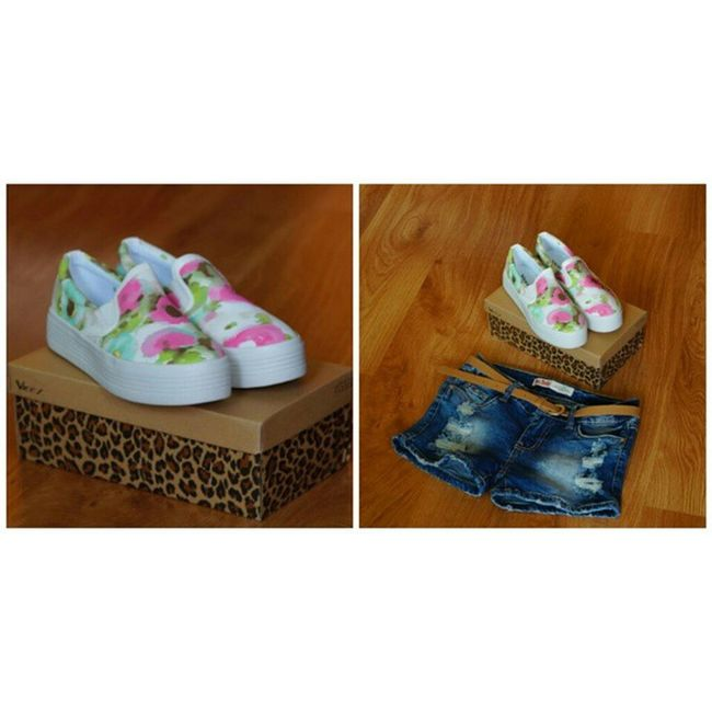 Nowości do kolekcji.Love it!💚💜💙💛 New Shoes Short Jeans Kwiatki Flowers Trampki Slipon Love IT Zakupy Shopping Later Świdnica Ratusz Photos Zdjęcia Niedlugo Sunny Hot Day Polishgirl Outfit Poland Nowości veryhappylikeforlikel4lf4f