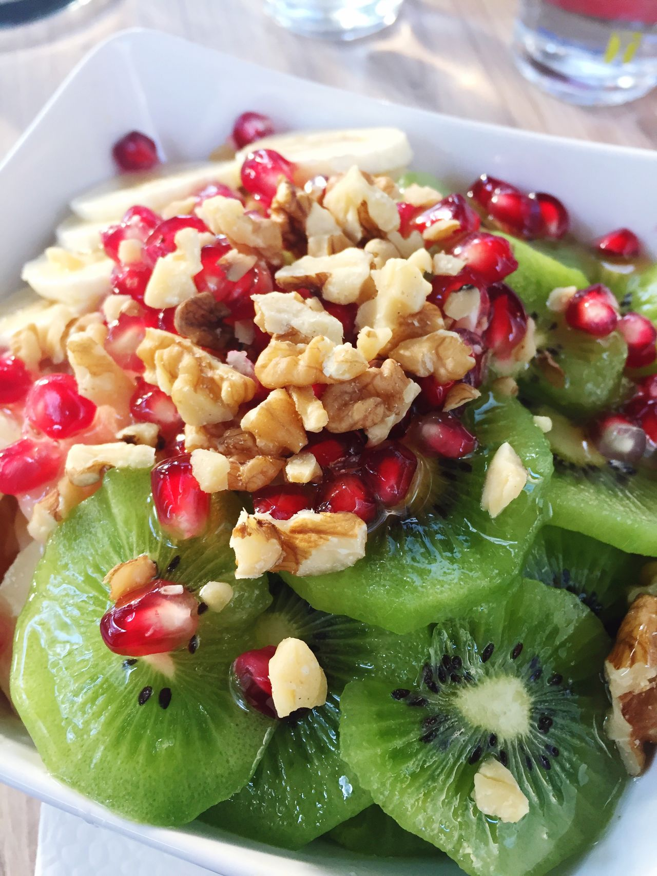 Love making this fruitsalad ❤️ Food And Drink Freshness Ready-to-eat Fruit High Angle View Close-up No People Indoors  Plate Healthy Eating Nutrition Kiwi Kiwifruit Bananas Pomegranate Nut Walnuts Walnut Fruitporn Fruits Fruitsalad Fruit Photography Healthy Healthy Lifestyle