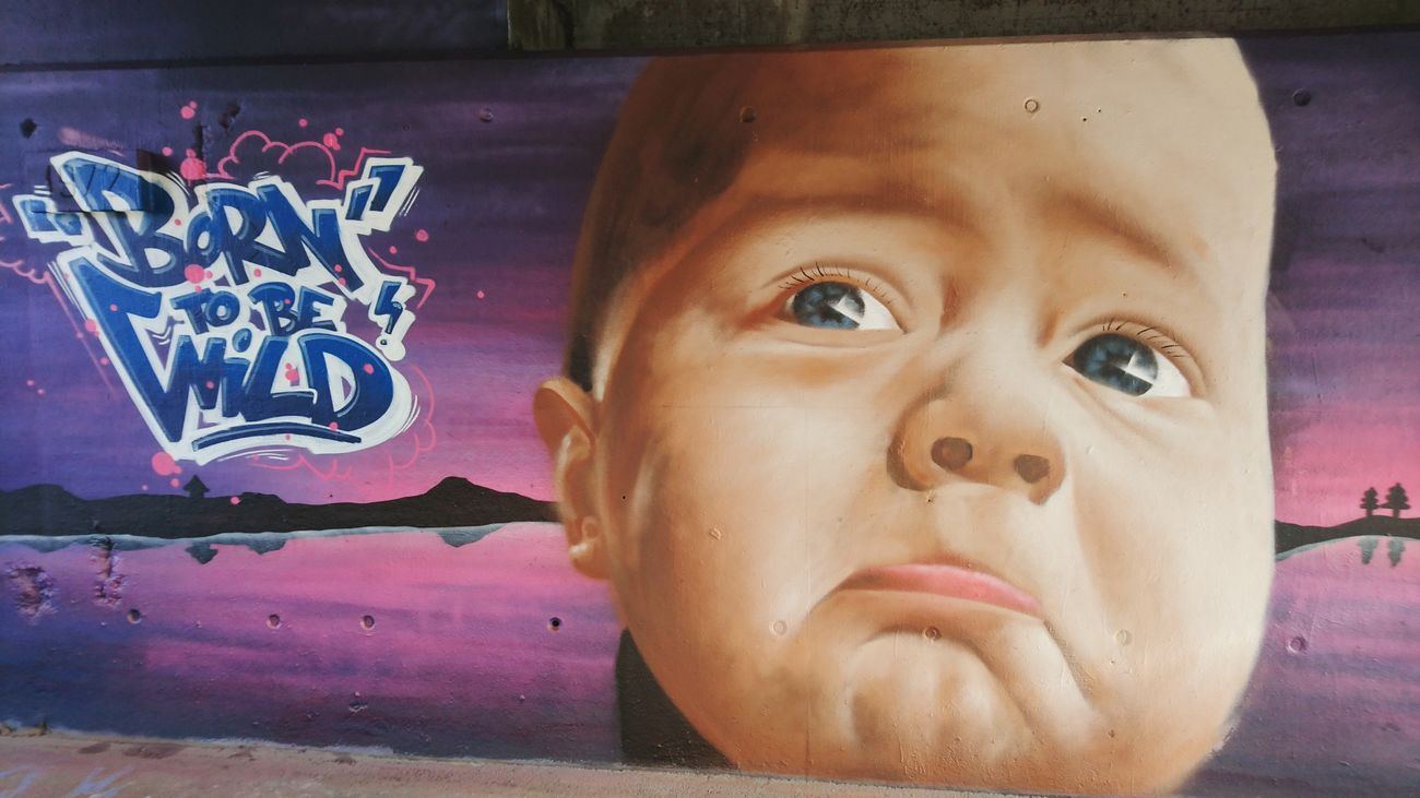 Human Face Portrait Street Art Born To Be Wild Babyface Graffiti Wallart Wall Art Wall Painting Graffiti Art Street Art/Graffiti